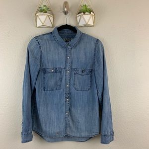 Madewell Button Down Jean Shirt Size Small FLAWED